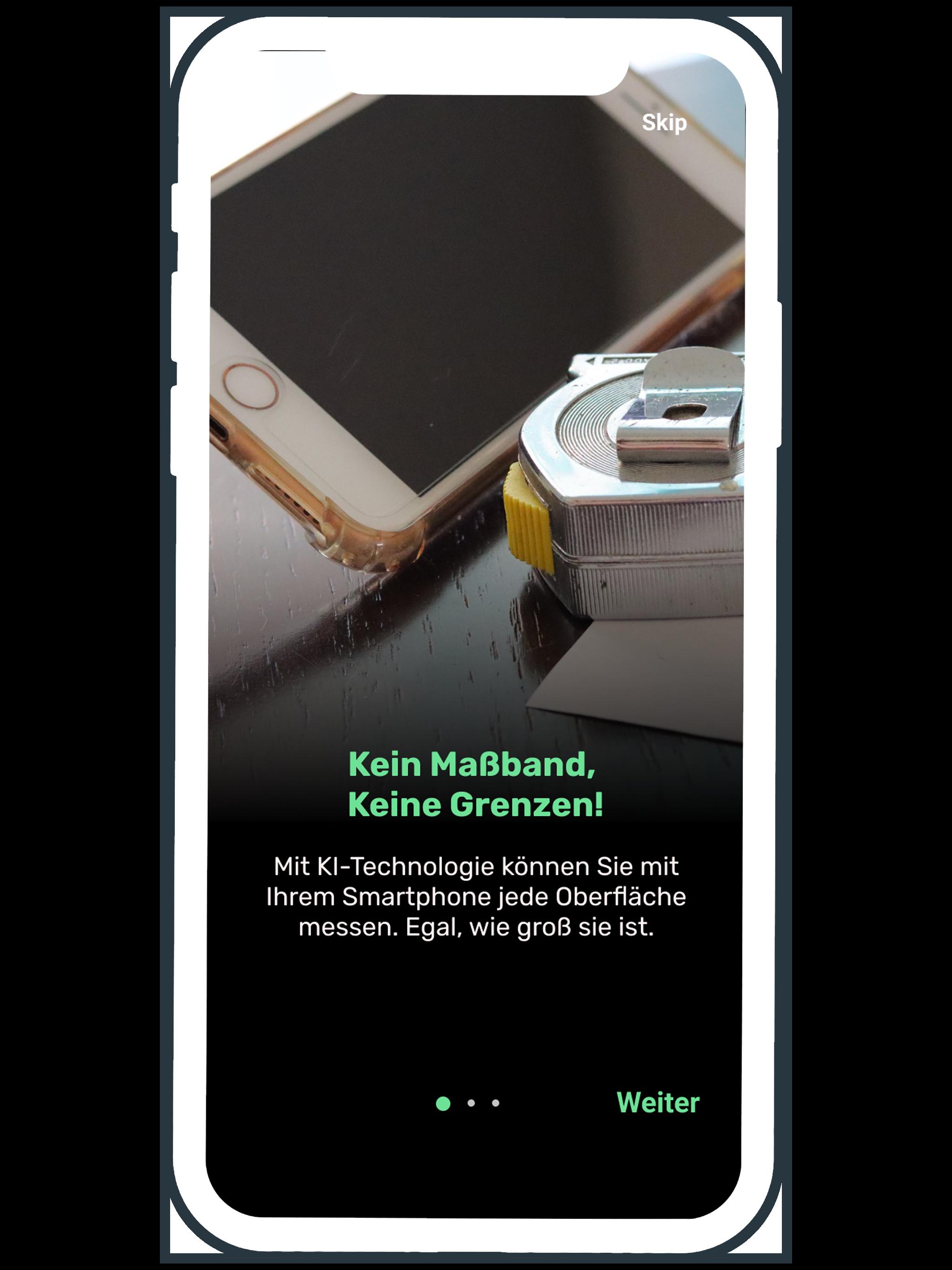 mit der Aufmaß App smart to plan können alle Oberflächen gemessen werde