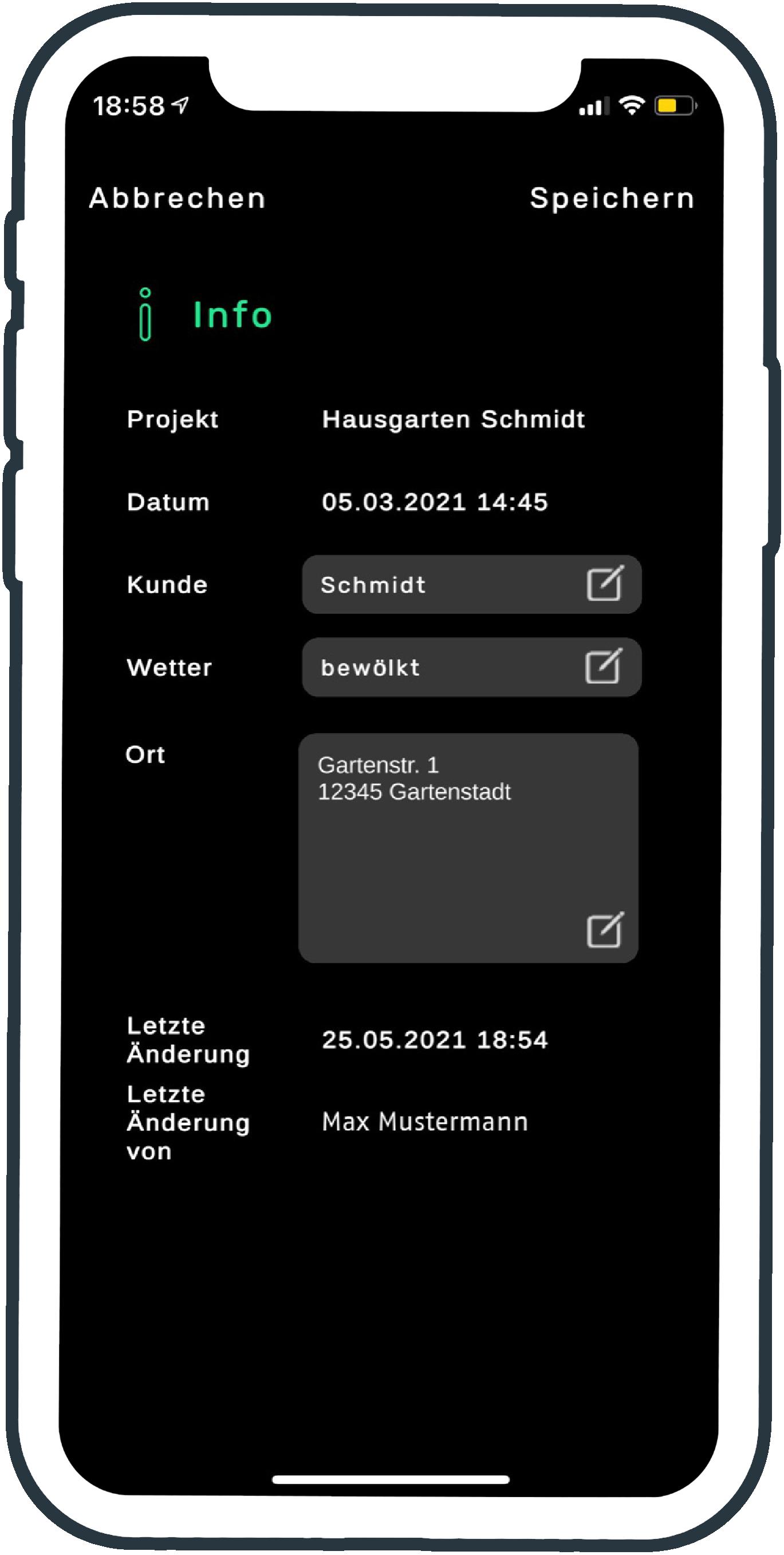 Zusatzinfos Projektübersicht smart to plan